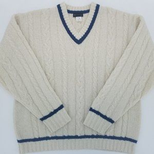Ivory Cable Knit Preppy Pullover V Neck Sweater